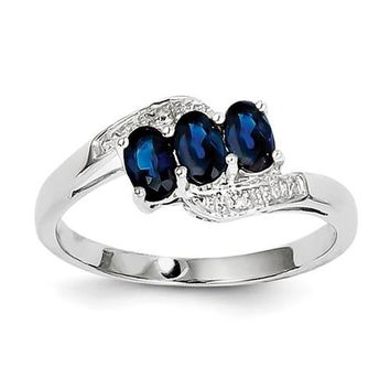 Sterling Silver 3-Stone Genuine Oval Blue Sapphire & Diamond Ring