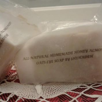 All-Natural Homemade Honey Almond Oats Lye Soap By Shehadeh - 2 Bars/2 Sizes