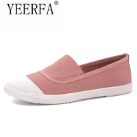YEERFA Fashion Women Loafers Canvas Shoes Slipony Oxford Flats Heels Breathable Slip on Comfortable Mix-Colors white Black shoes