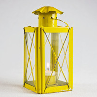 vintage room decor / candle lantern / yellow candle holder