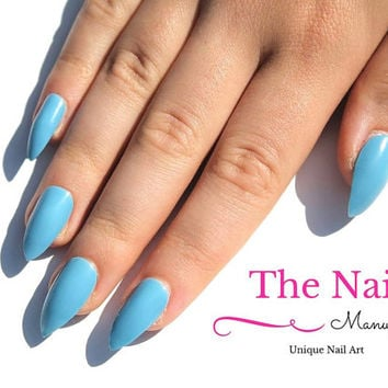 Baby Blue Fake Nails - Glossy False Nails - Handpainted Nail Set - Light Blue Nail Set - choose Stiletto Nails, Oval Nails, Square Nails