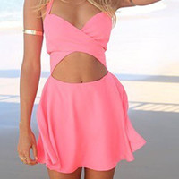 Pink Halter Cut Out Dress