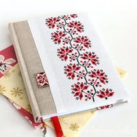 Embroidered journal cover Cross stich notebook Ethno style Handmade journal Embroidered journal Fabric covered notebook Fabric journal Red