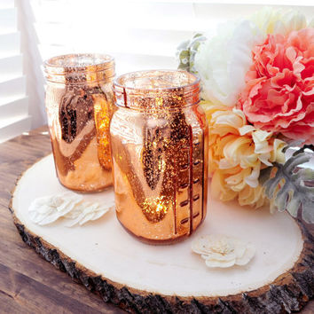 ONE (1) Mercury Glass Copper Rose Gold Mason Jar Vase Mercury Glass Candle Holder Vase Rose Gold Mason Jar Copper Mercury Glass