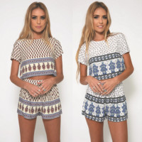 Fashion printing jacket shorts two-piece outfit