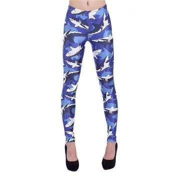 Blue Gym Shark Leggings
