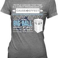 Doctor Who Wibbly Wobbly Quote Juniors Gray T-Shirt