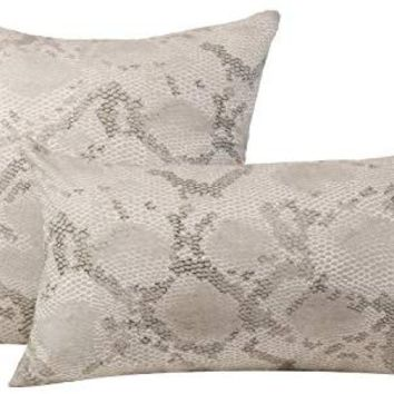 Huddleson Python Snake Print Linen Decorative Throw Pillow Cover, 20x20