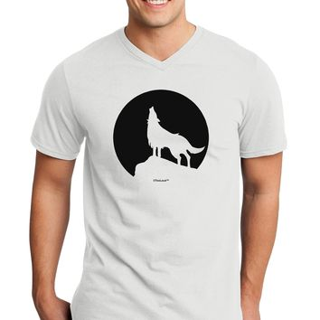 Wolf Howling at the Moon - Design #1 Adult V-Neck T-shirt by TooLoud