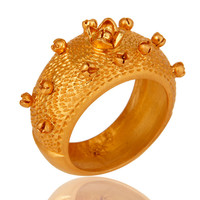 18K Yellow Gold Plated Sterling Silver Textured Design Dome Ring Jewelry