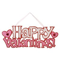 Happy Valentine Wall Sign - Pink and Red - 15.25 inches