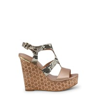 Blu Byblos Brown Ankle Strap Leather Wedges