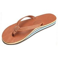 Women's Thin Strap Double Layer Classic Leather Sandal in Tan with Blue Arch by Rainbow Sandals