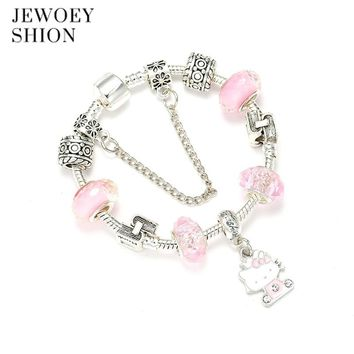JEWOEY SHION Children Fashion Cartoon Jewelry Cute Hello Kitty Pendant Crystal Exquisite DIY Pandora Charm Bracelet For Women