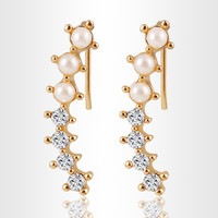 Stylish Fashion Earring Strong Character Metal Pearls Rhinestone Hot Sale Accessory Earrings [6058481345]
