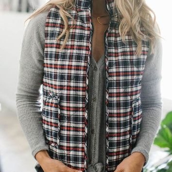 Navy Flannel Cotton Zip Up Vest