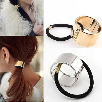 2016 New 1PCS Hot Item Cool Metal Hair Band Cuff Wrap Tail Holder Ring Rope Circle Silver/Gold