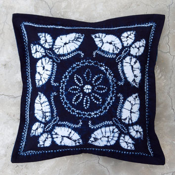 Deep blue indigo tie dye pillow cover Butterfly & flower pattern Hand dyed Navy Ultramarine Cobalt Natural Cotton Throw cushion Batik Boho