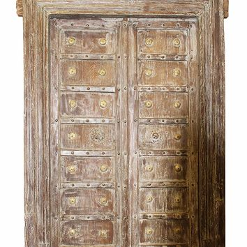 Mogul Interior Indian Haveli Antique Architectural Doors Teak Wood Brass Hand Carved Vintage Frame