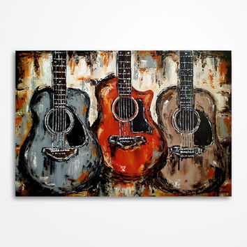 Acoustic guitar painting Music art Rustic decor Guitar Art Gift for musician Original orange brown grey black guitar painting on canvas