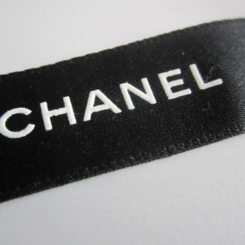 "Sale** Authentic CHANEL Black Ribbon with White Logo 3/4"" - 1 YARD / DIY Headband Hairbow / Gift Wrapping"
