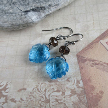 Blue Quartz Earrings, Smoky Quartz Earrings, Oxidized Sterling Silver, Sky Blue, Charcoal Brown, Gemstone Earrings