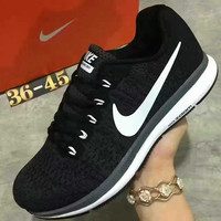 """NIKE"" Sports Knitted jumper wire AIR ZOOM PEGASUS shoes fashion shoes Black"
