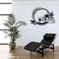 Football Helmet Wall Decal Sport Football Helmet Decals Wall Vinyl Sticker Interior Home Decor Family Art Wall Decor Bedroom Mural SV5965
