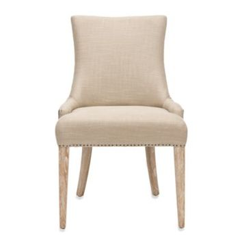 Safavieh Becca Dining Chair in Fabric and Leather