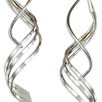 STERLING SILVER TRIPLE SPIRAL STREAMER WIRE EARRINGS
