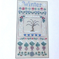 Winter Band Sampler, Counted Cross Stitch, Cross Stitch Pattern, Seasons Pattern, Winter Pattern, Sampler Pattern, Banner Pattern