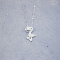 925 Sterling Silver lovely  Tyrannosaurus Pendant Necklace,a perfect gift !