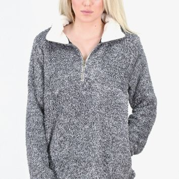 Two-Tone Faux Sherpa Quarter Zip Pullover {Charcoal}