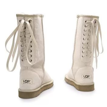 UGG Women Fashion Leather Winter Artificial Plush Keep Warm Boots Shoes White