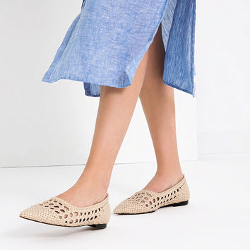 OPEN - WORK BALLERINA FLATS-Flats-SHOES-WOMAN | ZARA United Kingdom