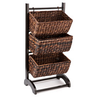 3-Tier Basket Cubby, Espresso, Storage Baskets