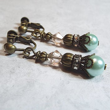 Clip on Earrings Peach and Green Rhinestone Faux Pearl Dangle Made with Swarovski Crystals Gunmetal Filigree Vintage Style Drop Ladies Gift