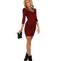 Burgundy Gathered Front Dress