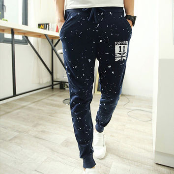 Casual Pants Stars Emoji Printed Sweatpants Full Length Slim Fit Joggers Sport Pants
