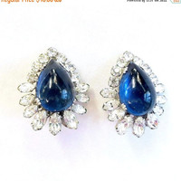 Hattie Carnegie Earrings with Blue Glass Cabochons & Clear Rhinestones Vintage Signed