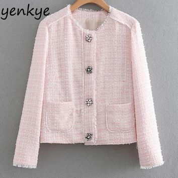 Trendy Sweet Women Single-Breasted Pink Tweed Jacket Lady Stand Collar Long Sleeve  Pockets Autumn Jacket chaqueta mujer  XNGC9310 AT_94_13