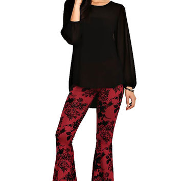 High Waist Hippie Floral Pattern Flocking Print Bell Bottom Flare Pants