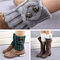 Women Winter Leg Warmers Socks Button Crochet Knit Boot Socks Toppers Cuffs