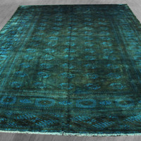 9x14 Overdyed Persian Bokhara Forest Green Teal Rug woh-2555 - West Of Hudson - Unique Rug Collection