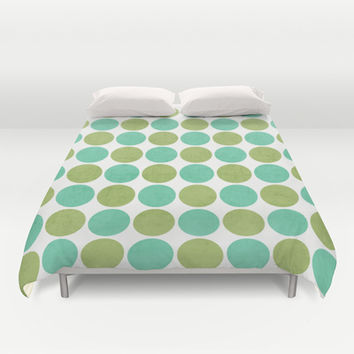 green and mint dots Duvet Cover by her art