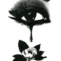 Womans Eye Crying Black Tear Flower Fantasy Goth original art print ink black and white
