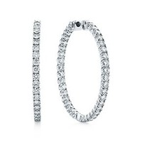 Tiffany & Co. -  Tiffany Metro hinged hoop earrings in 18k white gold with diamonds, large.