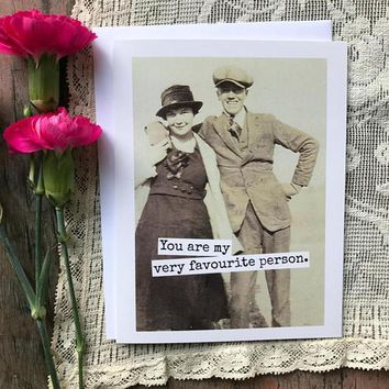 You Are My Very Favourite Person Funny Vintage Style Anniversary Card Valentines Day Card Love Card FREE SHIPPING