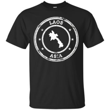 Laos Passport Stamp T-Shirt Hoodie Short Sleeve