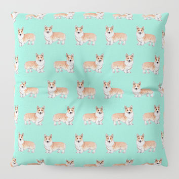 Corgi dog Floor Pillow by Savousepate